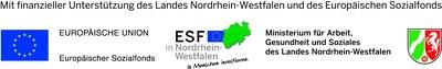 """Logo ESF/MAGS """"Mit finanzieller Unterstützung des Landes Nordrhein-Westfalen und des Europäischen Sozialfonds"""""""